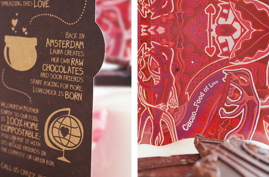 Lovechock sweet nibs and sea salt packaging graphics
