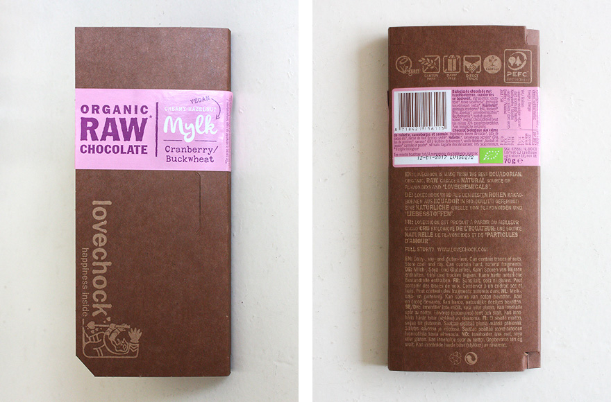 Lovechock cranberry and buckwheat packaging