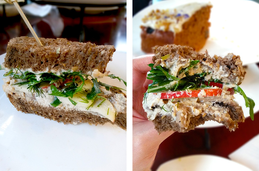 Koffie ende Koeck vegan high tea smoked oyster mushroom with horseradish spread sandwich