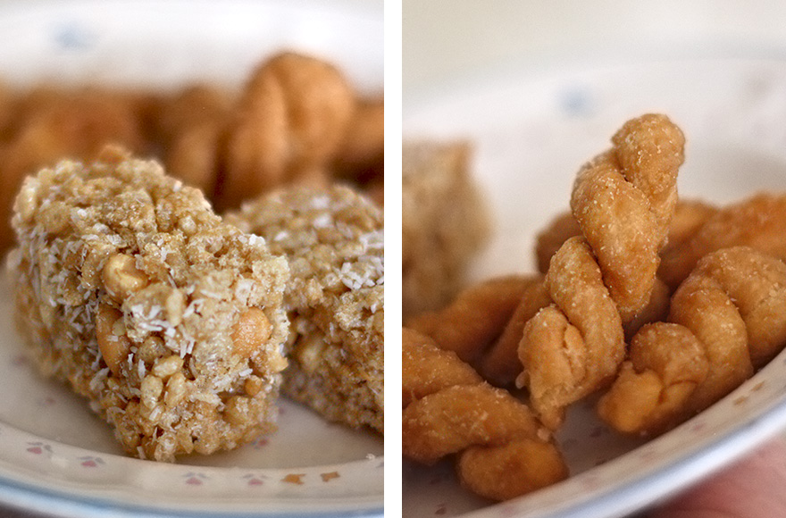 vegan chinese new year rice krispies and fried dough twists