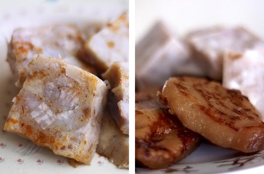 vegan chinese new year taro cake and new year's cake