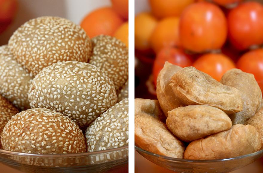 vegan chinese new year sesame balls and glutinous rice dumplings