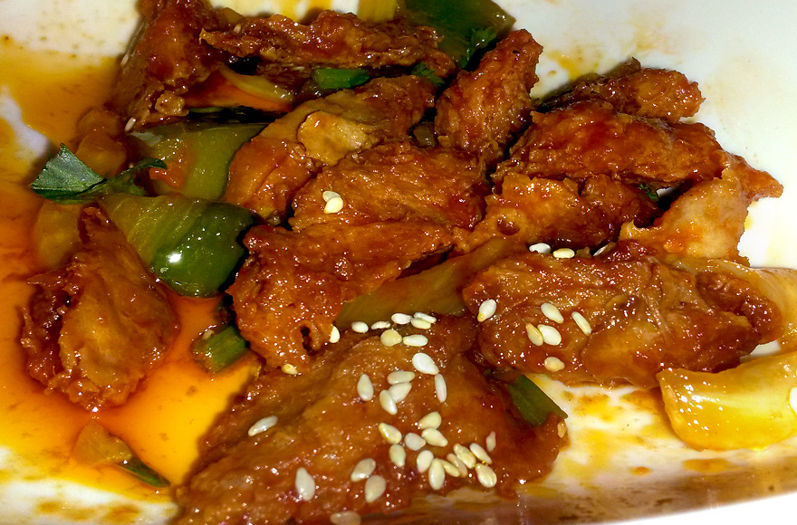 leaf vegetarian vegan soyribs in beijing sauce